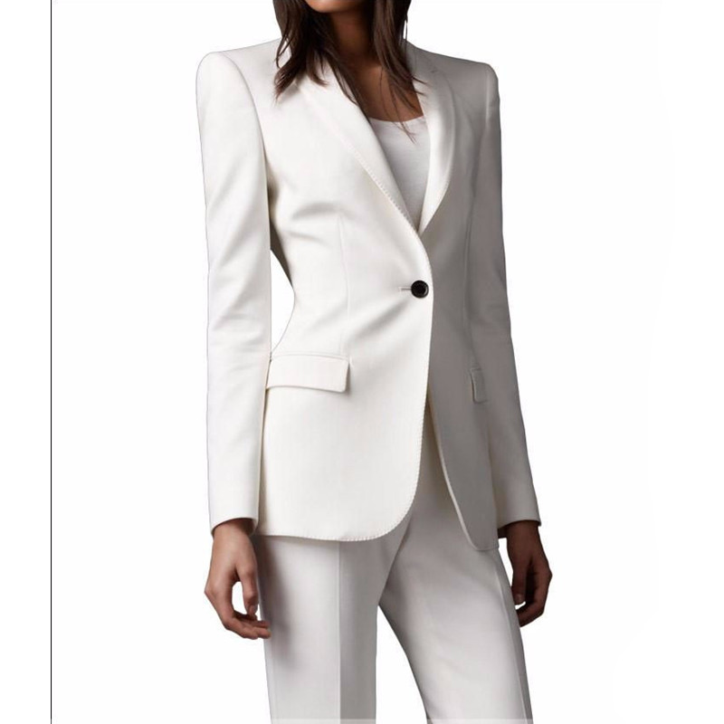 97 Slim Fit Custom made Ivory Women Pant Suits Shawl Lapel Fashion Long Sleeve Ladies One Button jacket+pants