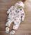 2016 Recién Nacido Bebé Niñas niños Invierno Mano de impresión Con Capucha Del Mono Del Mameluco de Algodón Outwear Caliente Trajes Bebes Mamelucos Cremallera