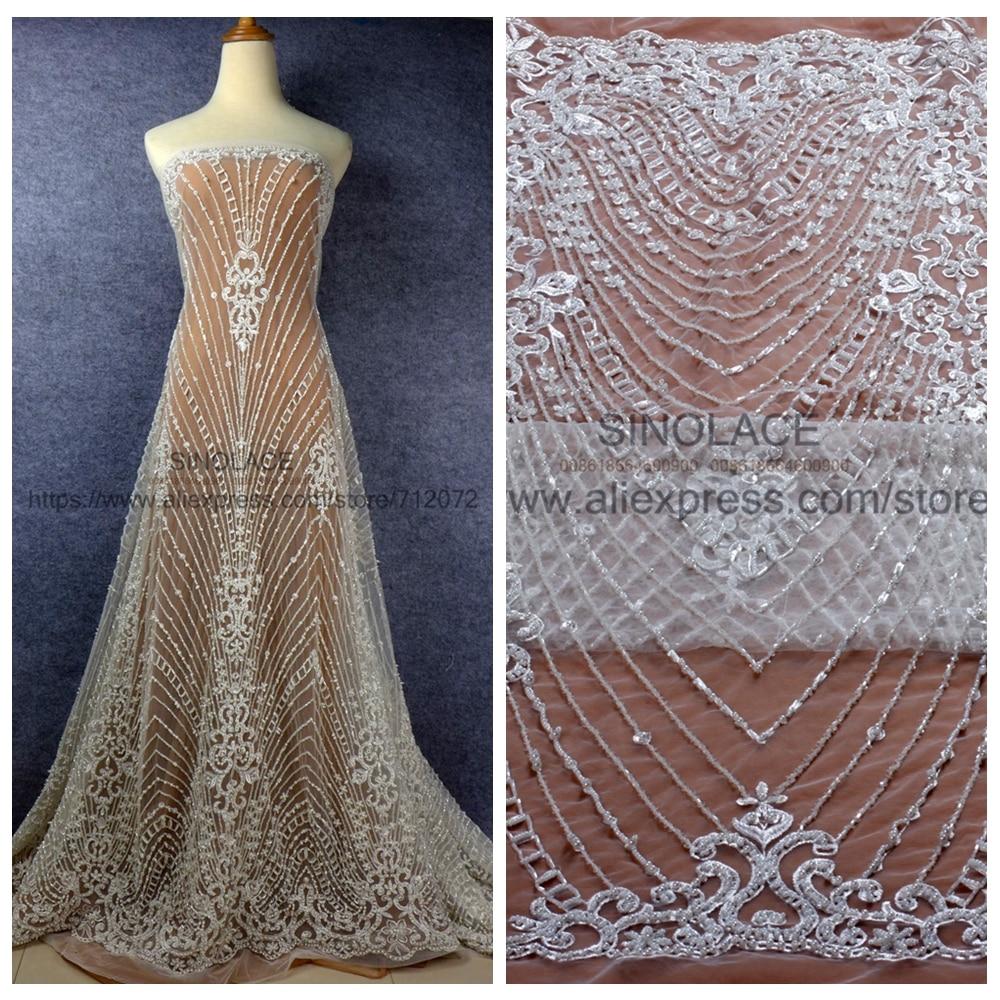La Belleza 1 yard ivory wine gold fashion style evening wedding dress handmade beaded lace fabirc