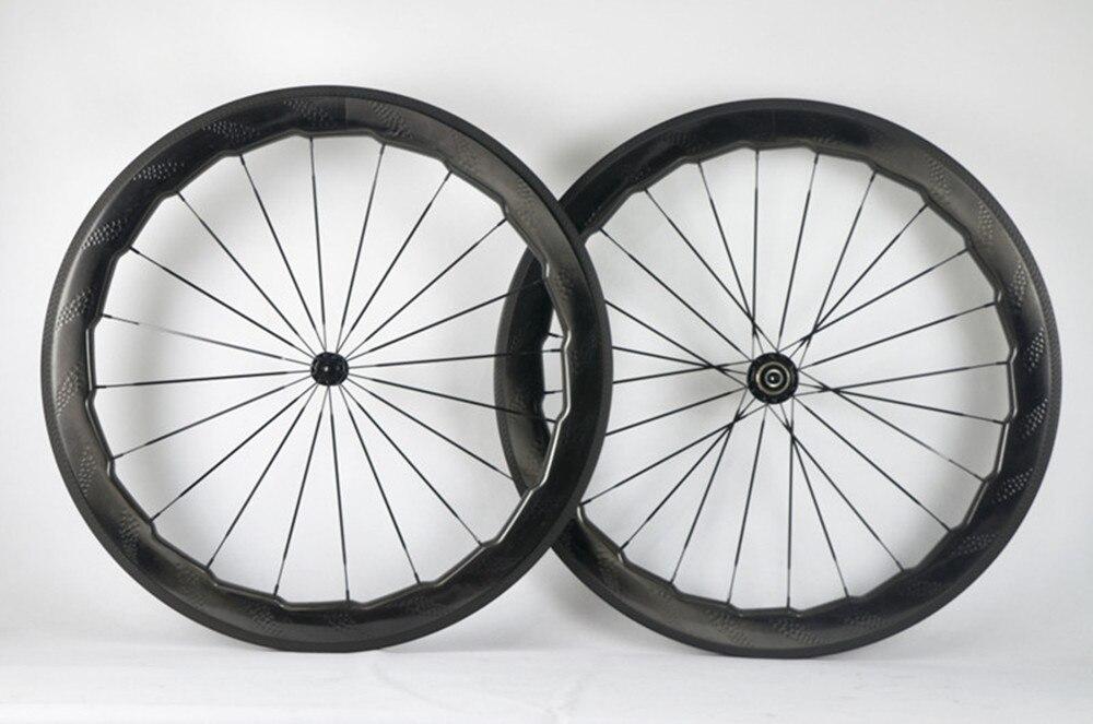700C cabon strada fossetta ruote nsw 454 su misura 58mm 25mm di larghezza copertoncino ruote della bici della Strada di riciclaggio della bicicletta da corsa wheelset