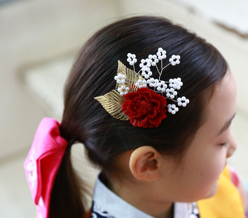 Imported Korea Traditional Hanbok Costume Accessories Little Girl s Cute BB Side Hair Pins Resin Flower