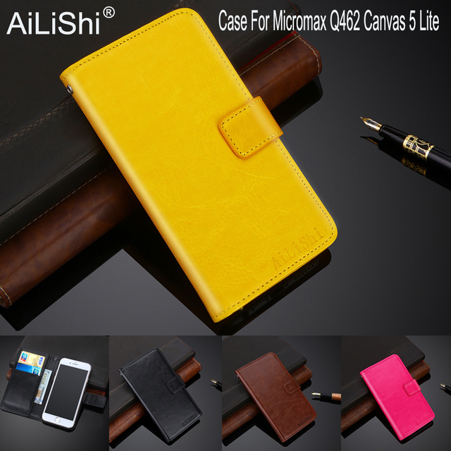 premium selection 72370 4d5ab US $4.44 11% OFF|AiLiShi 100% Exclusive Case For Micromax Q462 Canvas 5  Lite Fashion Leather Case Flip Cover Phone Bag Wallet Holder + Tracking-in  ...