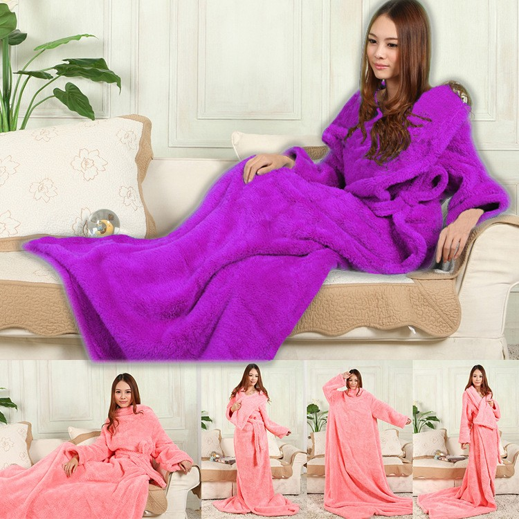 Black Thicker Spring/Autumn Winter Warm Wearable Burgundy Snuggie Fleece Blanket with Sleeves seen on TV Sofa Blanket big size