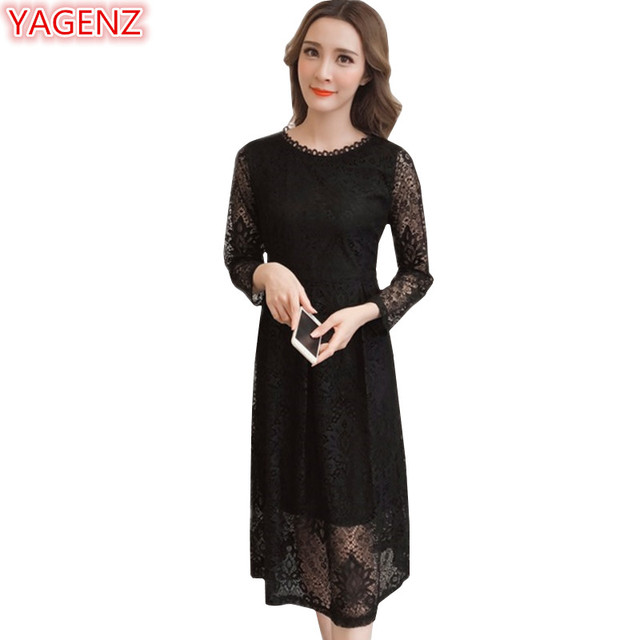 b9309304a YAGENZ White Lace Dress Vestidos De Fiesta Largos Elegantes De Gala Fashion  Black Ladies Dress Woman Dress 2018 Spring Summer834