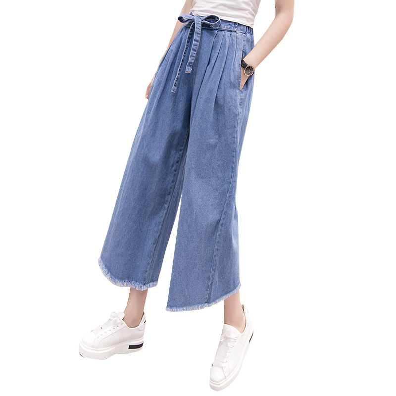 Pengpious Con Piernas Pantalones Jeans Primavera Faja Niñas Anchas Alta Lavado Verano Popular Laterales Escuela Mujeres Vintage Bolsillos Vaqueros Cintura rRrqwpfn