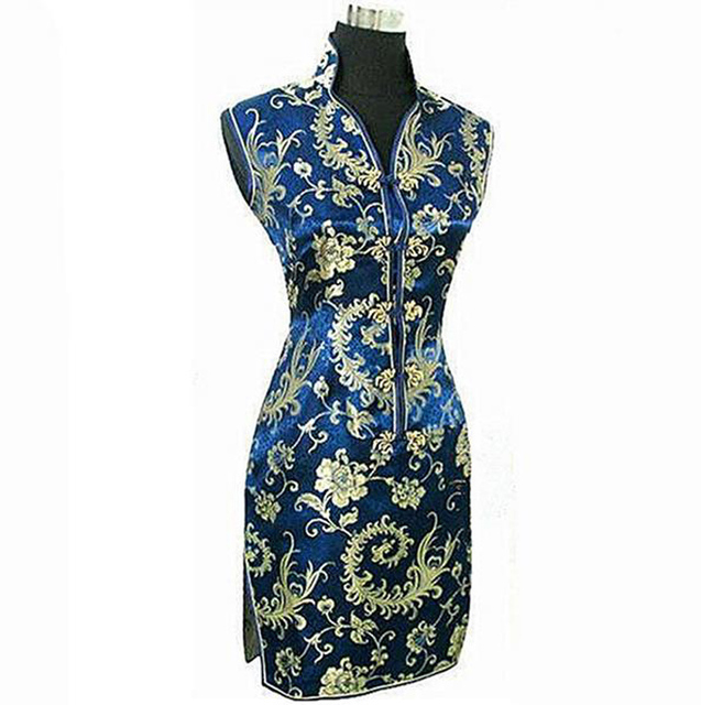 New Sexy Navy Blue Women's Polyester Cheongsam Chinese Traditional Mini Qipao Robe Club Dress S M L XL XXL XXXL WC177