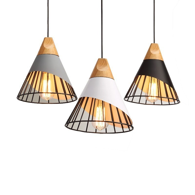 Modern Wood Pendant Lights Metal Shade White/black/Grey Lights Restaurant Bar Cafe Living Room Dining Room Nordic Pendant Lamp