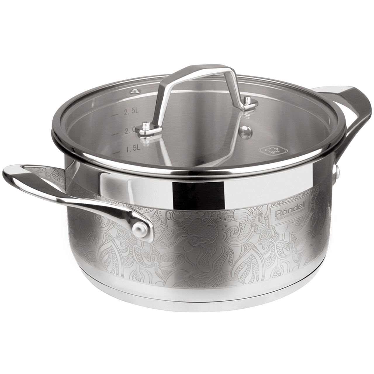 Pot with lid Rondell Fancy 20 cm (2,5) RDS-397 (Diameter 20 cm, volume 2.5 l stainless steel, suitable for all types of plates)
