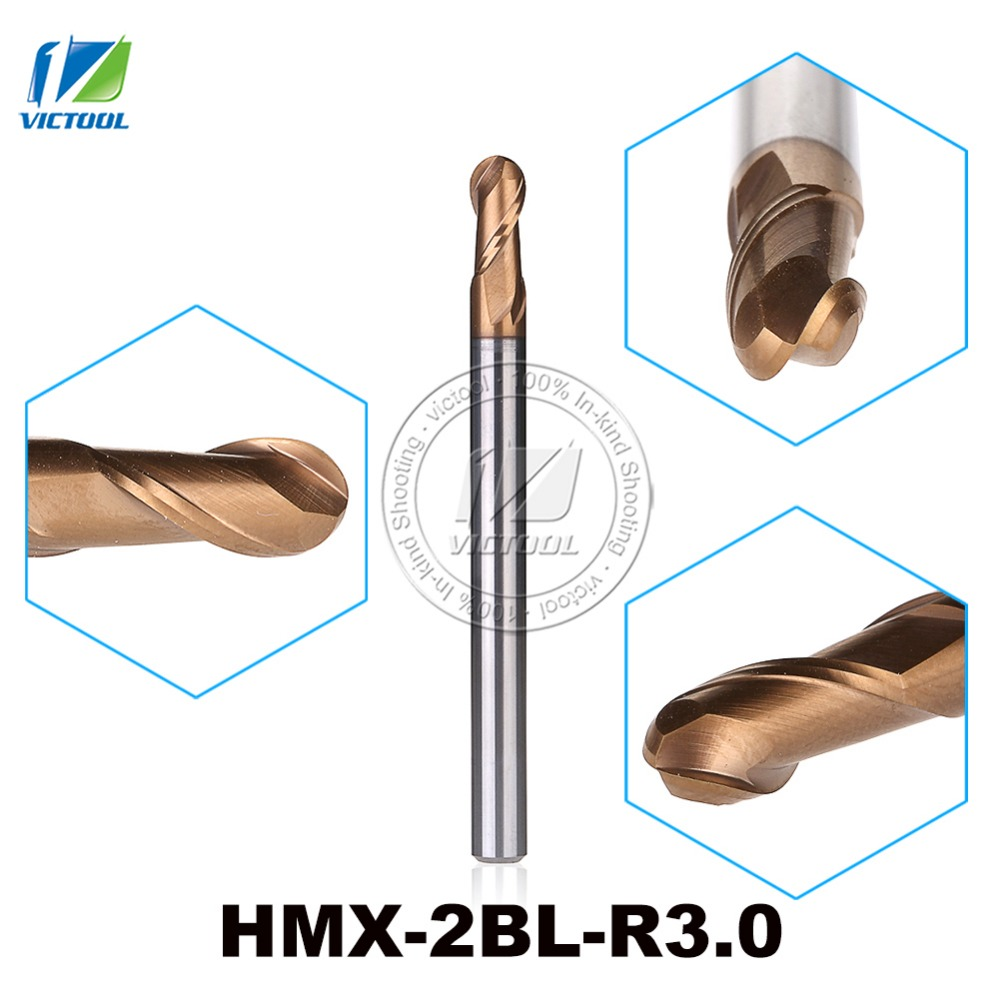 2PCS/Lot HMX-2B-R3.0 High Speed Cutting And Try Cutting 2-Flute Ball Nose End Mills Milling Cutter End Mills Straight Shank Tool