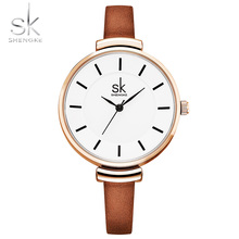 2017 Shengke New Fashion 10mm Leather Strap Quartz Wrist Women Watches White Golden Case Casual Minimalist Relogio feminino Saat