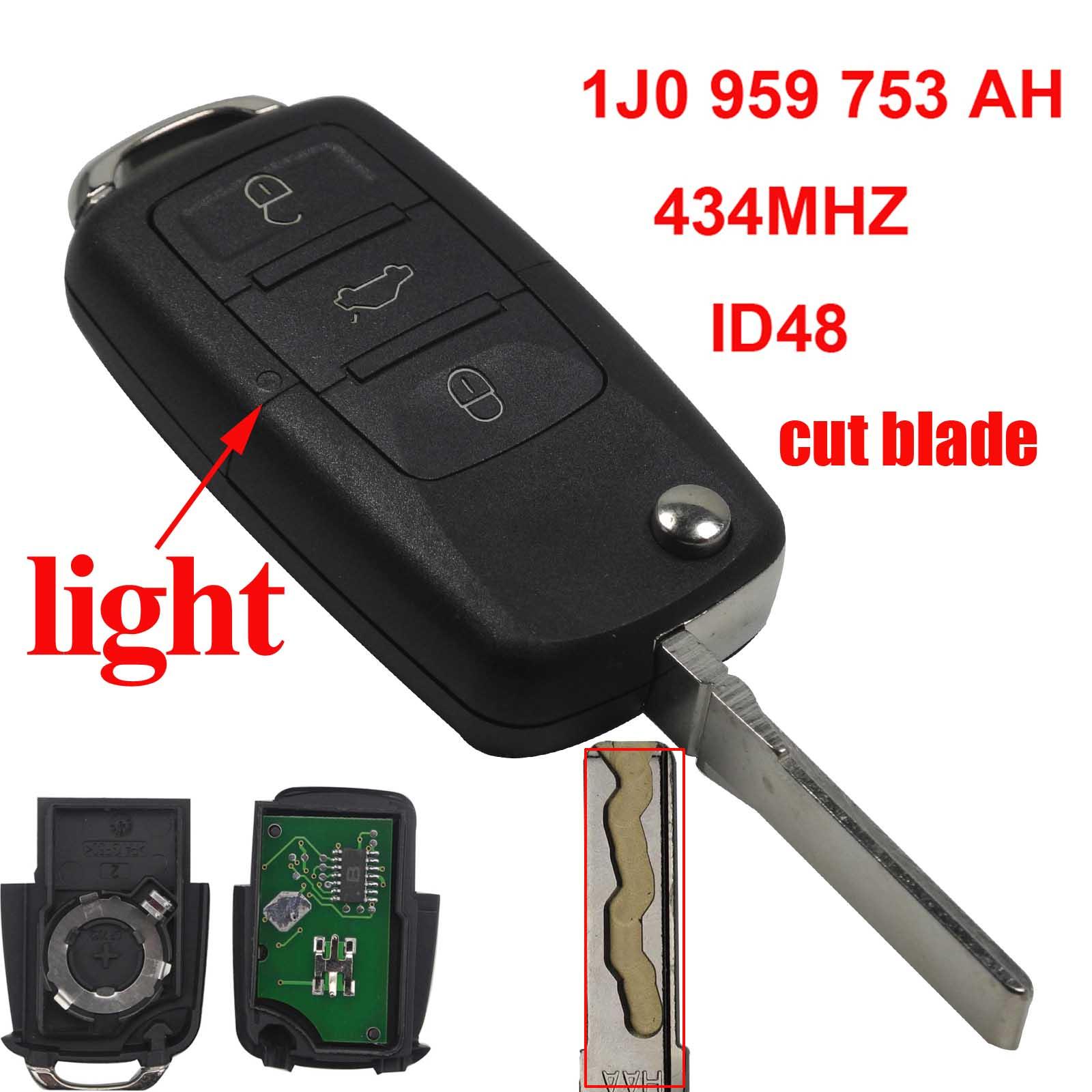 Jingyuqin cut lame DEMANDER 1J0959753AH 434 mhz Avec ID48 Puce 3B À Distance Clé Cas Fob Pour VW PASSAT Beetle Polo /Skoda Avec logo
