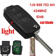 jingyuqin cut blade ASK 1J0959753AH 434MHz With ID48 Chip 3B Remote Key Case Fob For VW PASSAT Beetle Polo /Skoda With logo