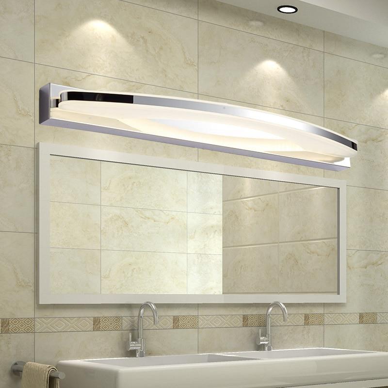 modern led bathroom lighting Modern 12W / 20W Led Bathroom Mirror Light Acrylic Lampshade Wall Lamp Stainless Steel Sconce