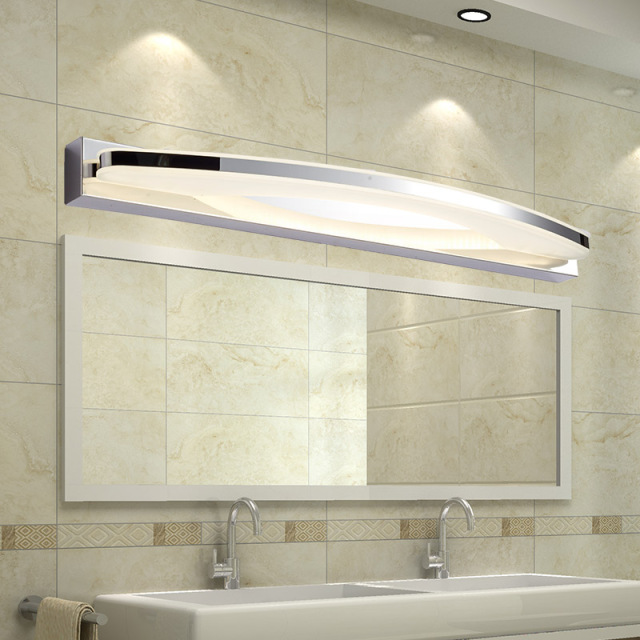 Modern 12W 20W Led Bathroom Mirror Light Acrylic Lampshade Wall Lamp Stainless Steel Sconce Home