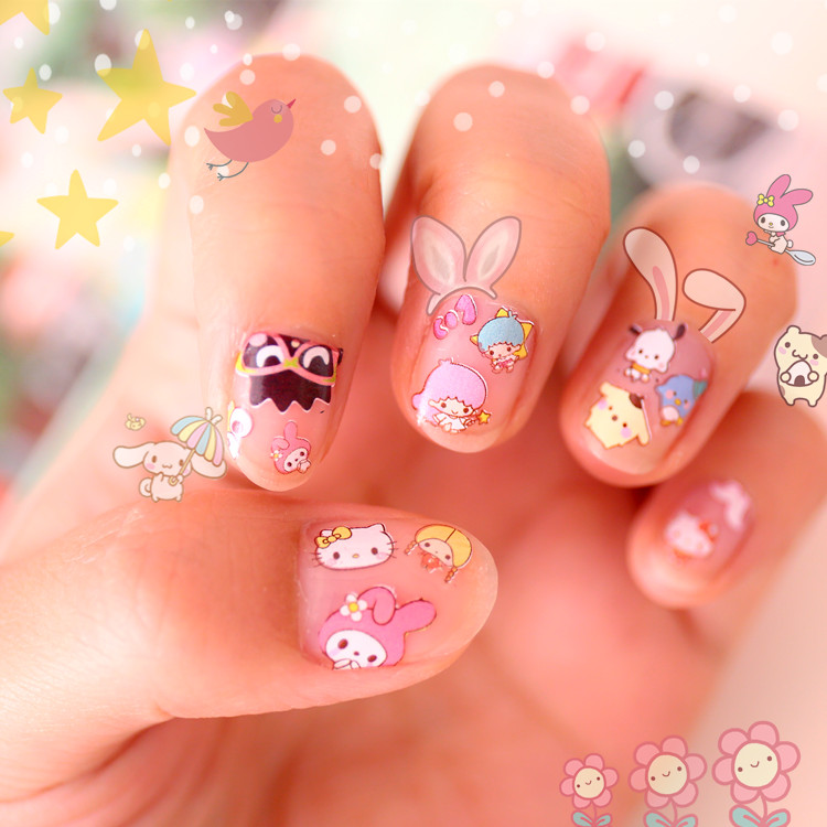 3pcs/lot WATER DECAL Cartoon Nail Stickers Twin Stars My Melody Cartoon Stickers Nail Little Twin Star Professional Stickers
