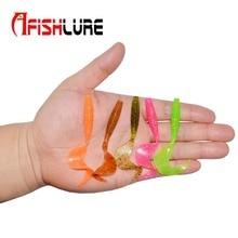 "Fishing Lure 70mm(2.75"") 2g (0.07OZ) Curly Tail Soft Lure Silicon Soft maggot 10pcs/lot Afishlure Plastic bait  Jigging Fishing"