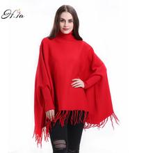 H,SA 2016 Autumn Winter Batwing Sweaters Poncho Turtleneck Women Tassel Pullover and Sweater Jumper Loose Oversized Burderry(China)