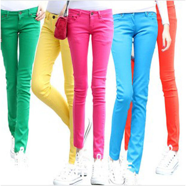 Aliexpress.com : Buy skinny jeans women colored trousers cheap mid ...