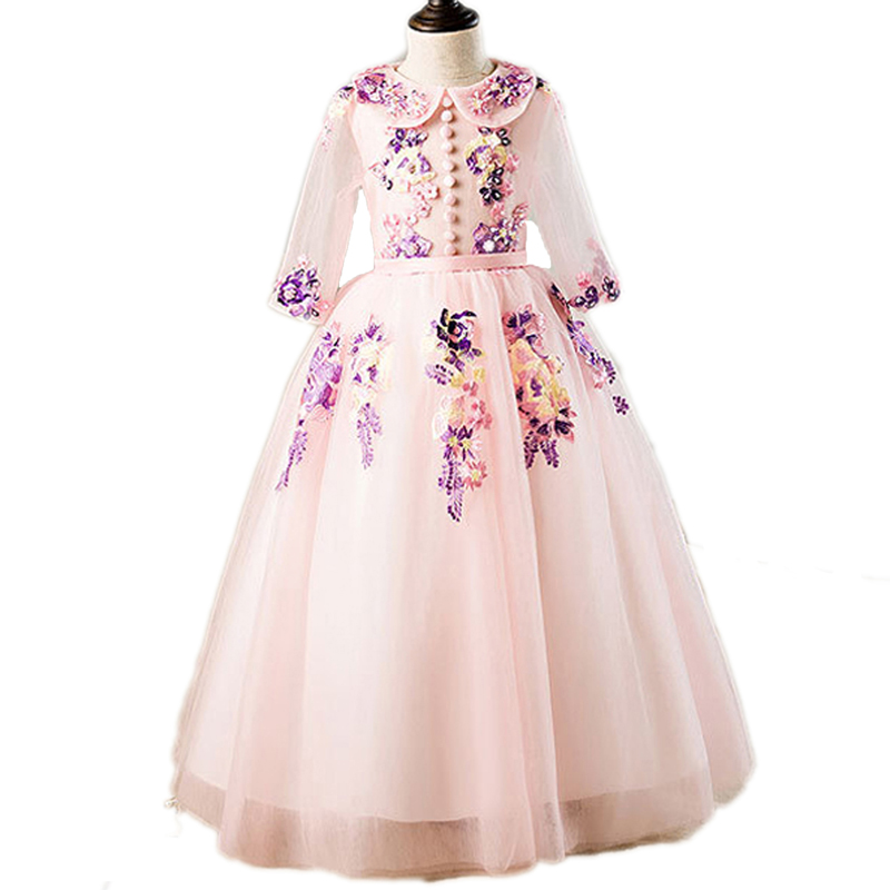 2018 Sequin Lace Tulle Flower Girl Dress Ankle Length Princess Ball Gown Party Wedding Dress Girls First Communion Dresses E29 2016 lace tulle flower baby girl dress princess communion dresses christening baptism girls dress for wedding party robe fille