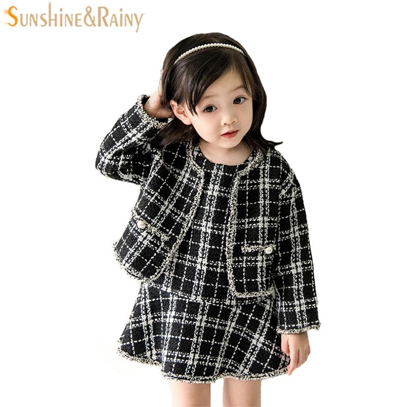 Elegant Girls Clothing Sets 2pcs Plaid Tutu Princess Dress + Girls Jacket Autumn Children Outerwear Coat For Baby Girls Clothes высокие кеды quelle quelle 208489