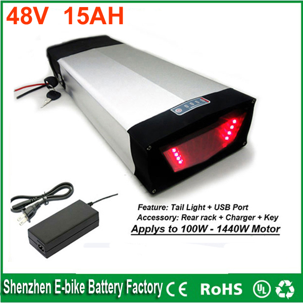 Free Customs taxes Rear Rack 48V 1000W bafang E-bike Lithium Battery 48V  15ah electric bike battery With Charger and USB port eu us free customs duty 48v 550w e bike battery 48v 15ah lithium ion battery pack with 2a charger electric bicycle battery 48v