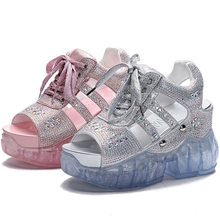 NAYIDUYUN  Women Rhinestone Sport Sandals Platform Wedges Gladiators High Heel Strappy Fashion Summer Sneakers Creepers Shoes
