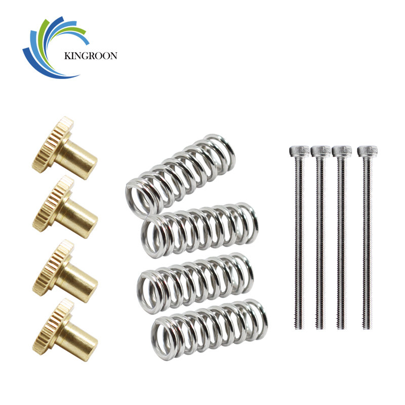 kingroon-new-4-set-lot-ultimaker-2-hot-bed-spring-leveling-kit-4-adjustment-nut-4-springs-4-m3-screw-heatbed-kit-for-3d-printer