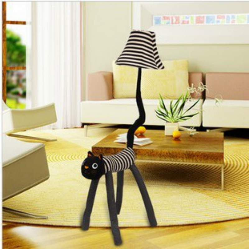 Floor Lamps For Kids Bedroom: Carton Animal Cat E27 Dimmer Floor Lamp With Remote