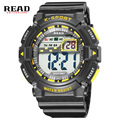 READ 2017 new , cheap kids watches round Dial Large Digital clock for men Scale Relogio  blue wristwatch  StopWatch Alarm clock