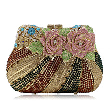 Flower Women Rose Flower Luxury Crystal Clutch Handbag Bling Rhinestone Wedding Party Clutches Evening Bag Gold SMYZH-E0280
