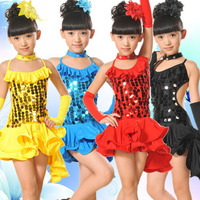 שמלת ריקוד לטיני לנערות סמבה תחפושות ביצועי בלט Dancewear ילדים הילדה שמלת ריקודים סלוניים שמלת שמלת חתיכה אחת