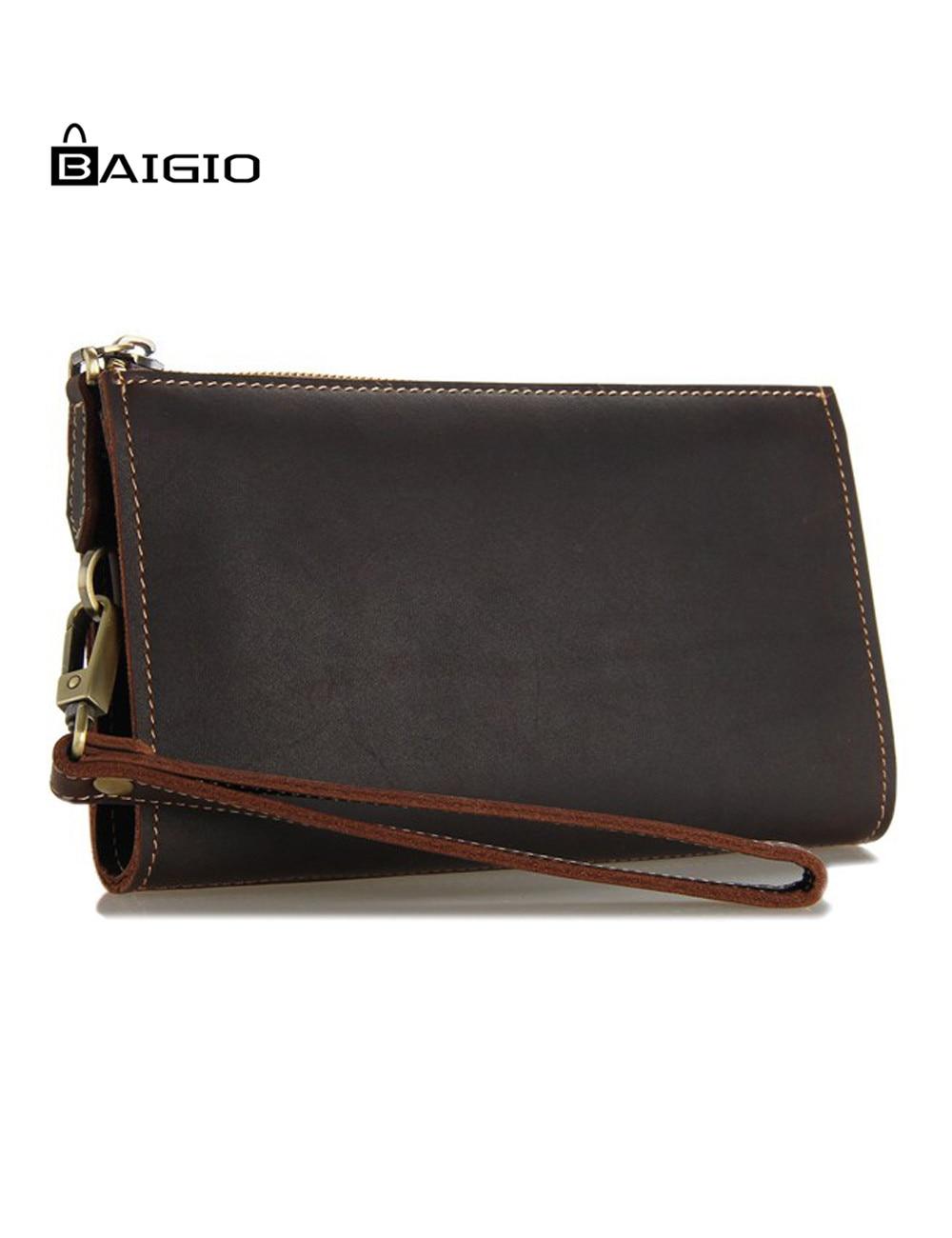 ФОТО Baigio Men's Vintage Crazy Horse Leather Long Bifold Wallet Clutch Purses Handbags Designer Leather Zipper Wave Pattern Wallet