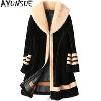 AYUNSUE Sheep Shearling Overcoat Real Wool Coats Icelandic Collar Women's Fur Coat Female 2019 Winter Jacket Women 17791 WYQ1167