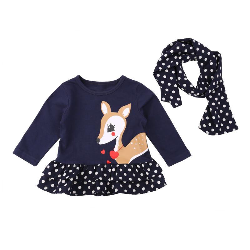Striped Patchwork Baby Girls Dress Long Sleeve Polka Dots Cute Deer Children Clothing Girls Tops Dress+Scarf 2pcs Girl Clothes