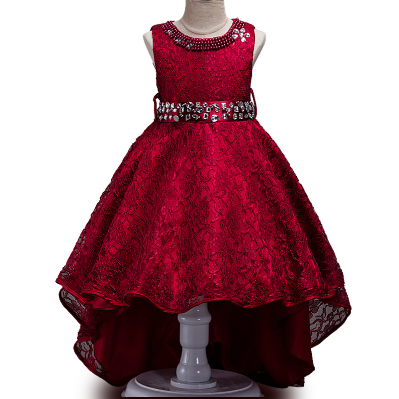 New Summer Children girl Wedding Dress After Short Before Mopping the floor Long Lace princess Party evening dress шарф ea7 285543 7a393 00010