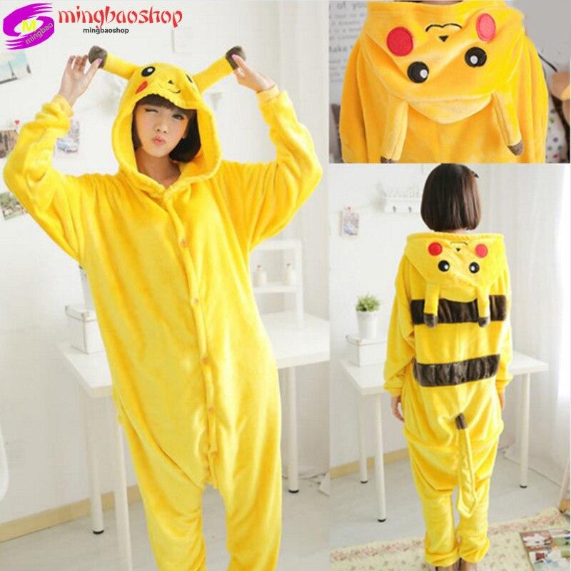 2019 Nieuwe Volwassen Kind Flanel Cosplay Kostuum Pikachu Onesie Kostuums Voor Unisex Creëren Dans Fancy Pyjama Halloween Party