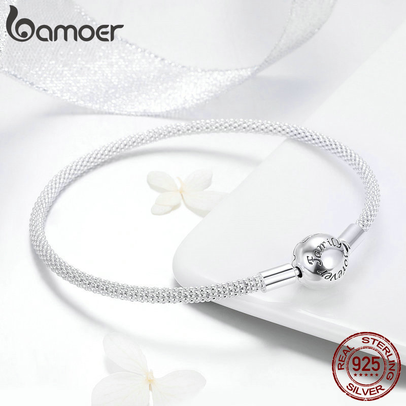 BAMOER Classic 100% 925 Sterling Silver Love Forever Love Snake Chain Bracelets Women Sterling Silver Jewelry 17CM 19CM SCB105