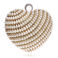 Finger Ring Diamonds Women Bags Beaded Handmade Purse Day Clutches Heart Shaped Pearl Evening Bags For Wedding/Party/Dinner