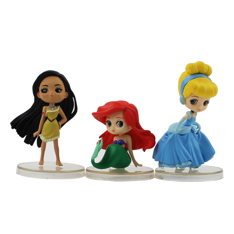 3pcs//lot Q Posket Figure Toy Princess Ariel Mermaid Snow White Tangled Rapunzel