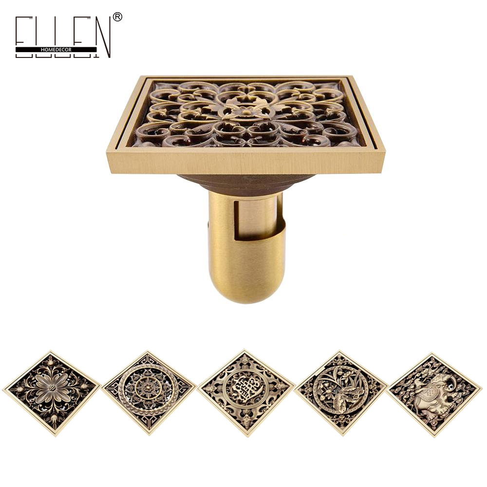 10*10cm Euro Style Antique Brass Bathroom  Shower floor Drain Wire Strainer Art Carved Cover Waste Drainer drains 12 12cm antique brass shower floor drain bathroom deodorant euro square floor drain strainer cover grate waste hj 8702s