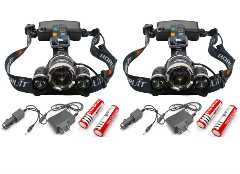 Lot 2 Hunting Camping Hiking 6000lm 3x CREE T6 LED Headlamp Lamp Headlight Head Torch Light Rechargeable 2X18650 Battery