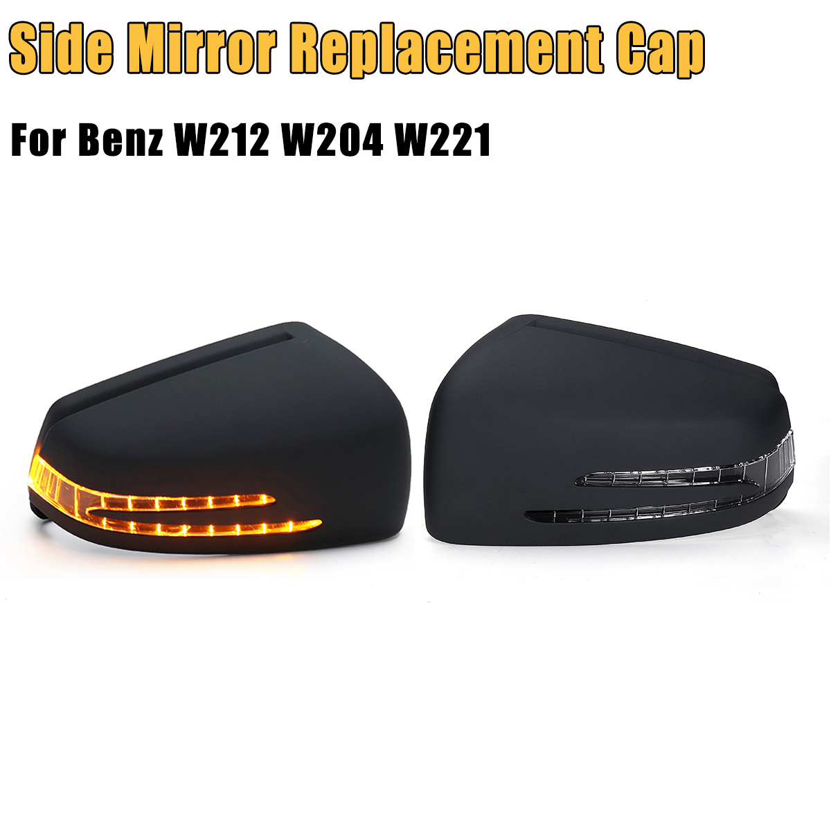 Unpainted Grey Car Door Rearview Side Mirror Replacement Cover Cap with LED Turn Signal Light Lamp For Benz W212 W204 W221