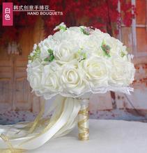 ผู้หญิงประดิษฐ์ช่อดอกไม้งานแต่งงานสำหรับB Ridalsกุหลาบดอกไม้De M Ariageช่อเจ้าสาวจัดงานแต่งงานผู้ถือช่อดอกโบตั๋นอุปกรณ์