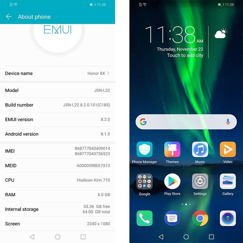Huawe Honor 8X6,5 ''полный экран OTA обновление смартфона 8X не 8x Макс мобильный телефон Android 8,1 Восьмиядерный отпечаток пальца ID
