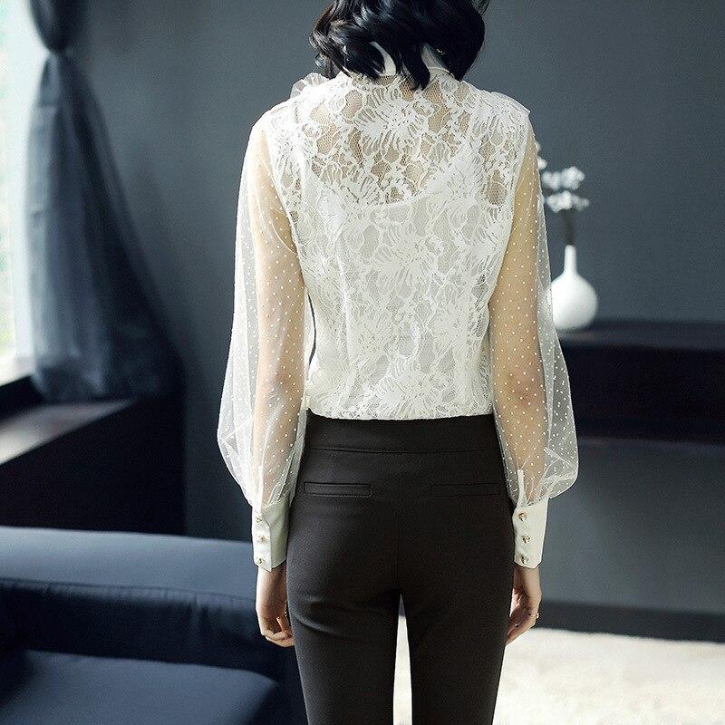 Blanc Chemisier En Élégantes Pur À Noir De Dentelle Bureau Dot Dames 2019 Sexy Manches Longues blanc Soie Chemises Hauts noir Européenne Femmes awYq0n