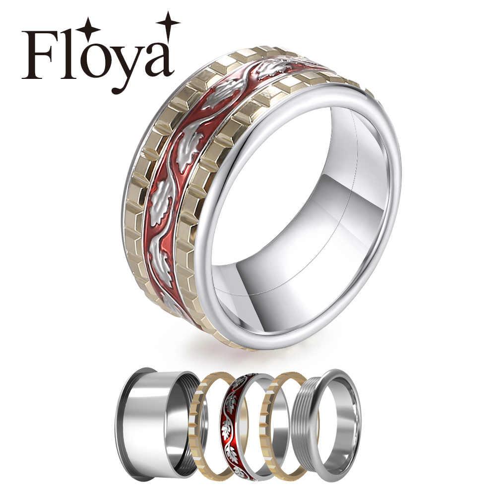 Floya สีแดงวงแหวนผู้หญิงผสมแหวนสแตนเลส Arctic Symphony Collection งานแต่งงานแหวน Bague Acier