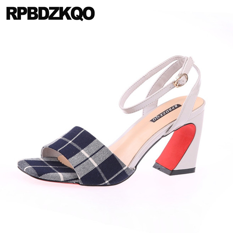 Thick Plaid High Heels Summer Slingback Gingham Chunky Women 2018 Pumps Shoes Open Toe Work Black And White Sandals Ankle Strap double ankle strap chunky heels black