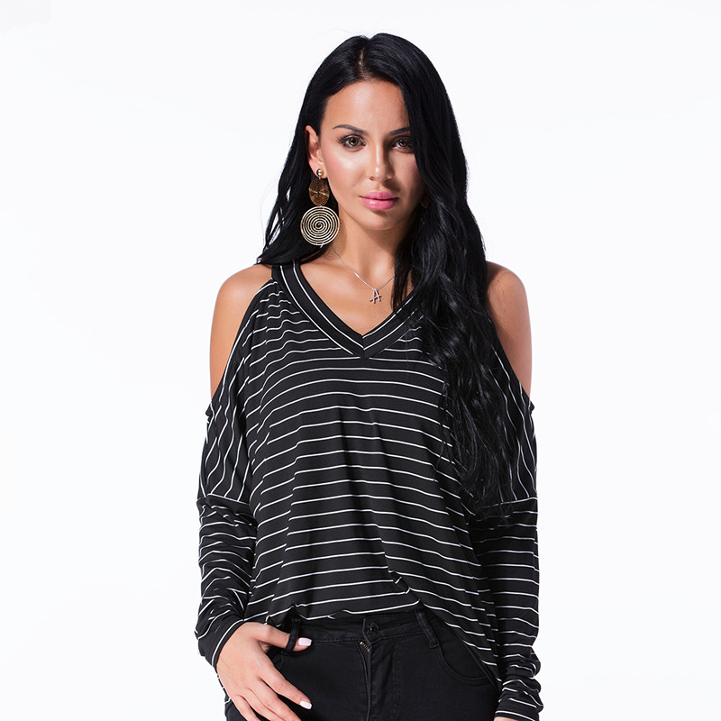 Sexy Off Shoulder Top 2018 Autumn Women Blouse V-Neck Casual Loose Striped Long Sleeve Blusas for Ladies Office Shirt Plus Size