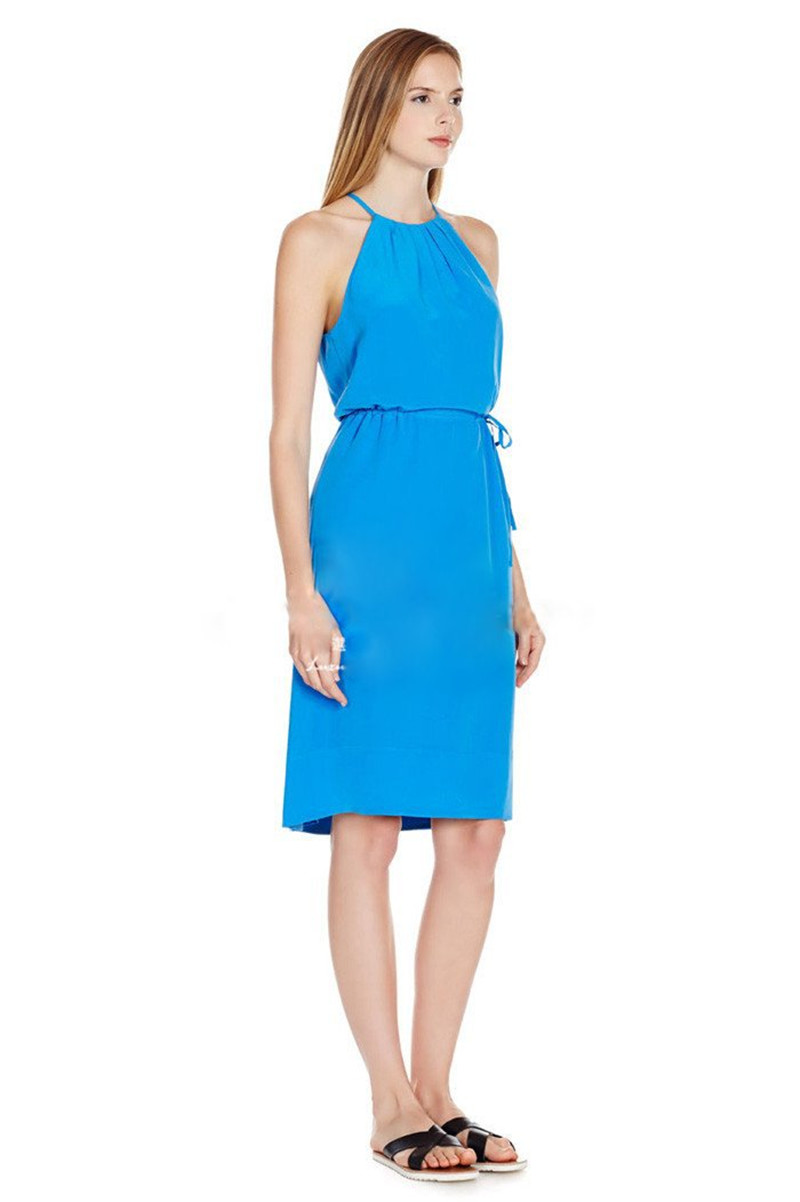 Women New Silk Blue Halter Dress Sleeveless Waist Belt Midi Dress