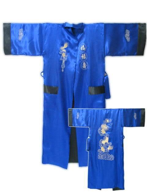 Черный синий два - мужской шелковый район одеяние китайская национальная мужчины вышивка Dargon пижамы кимоно ванна платье один размер MR091